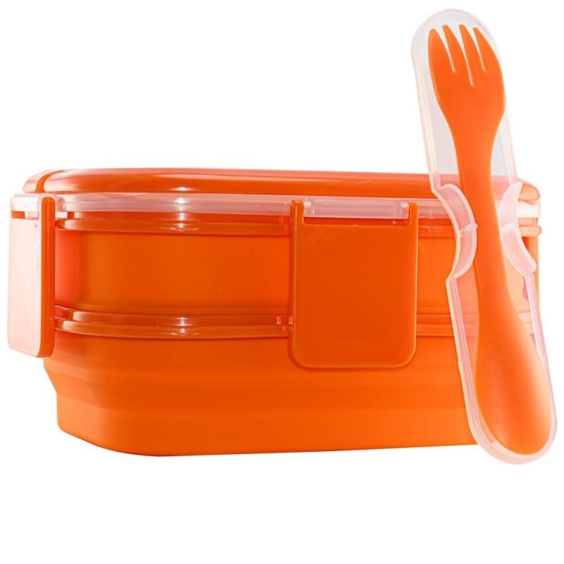 ظرف غذای دو طبقه سیلیکونی Foldable